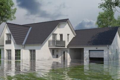 Einfamilienhaus mit Wasserschäden nach Überschwemmungen